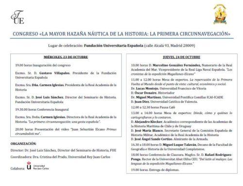 CONGRESO «LA MAYOR HAZAÑA NÁUTICA DE LA HISTORIA: LA PRIMERA CIRCUNNAVEGACIÓN»